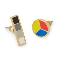 Color Wheel and Grayscale Mismatched Earrings | stud earrings for women