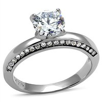 Mens Engagement Rings TK2864 Stainless Steel Ring with AAA Grade CZ