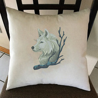 Wintry Wolf, Embroidered Pillow Cover, 16x16, 18x18, Housewarming Gift, Cushion Cover, Throw Pillow