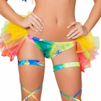 Tie Dye Booty Shorts with Attached Half Tutu