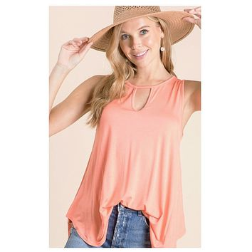 Adorable Vibrant Coral Keyhole Detail Top