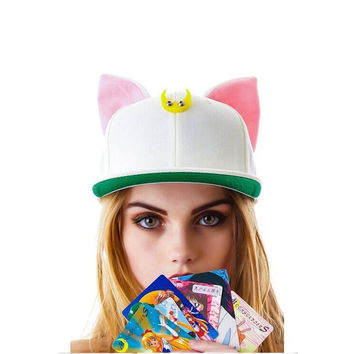 Sailor Moon Cat Snapback Ears Devil Horns Hip Hop Hat