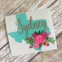 Personalized Floral Texas Decal | Texas Yeti Decal | Texas Car Decal | State Decal | Yeti Decal | Car Decal | ALL STATES AVAILABLE