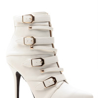 White All Buckled Pointed Toe Single Sole Booties