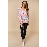 I've Got A Feeling Tie Dye Top (Pink Multi)