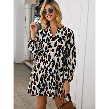 Notched Collar Leopard Print Dress