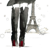 Meet me in Paris, print from original watercolor and pen fashion illustration by Jessica Durrant