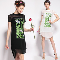 Leaves Print Short Sleeve Mesh Dress