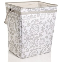 "Gray Suzani Print 24"" Laundry Hamper 611865289"