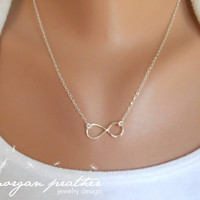 SALE - Sterling Silver Infinity Necklace - Infinity Charm Suspended on Sterling Silver Fine Cable Chain - Perfect Gift - morganprather