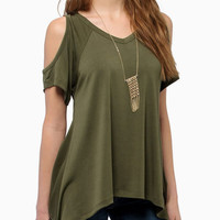 Green Open Shoulder Asymmetrical Hem T-Shirt -SheIn(Sheinside)