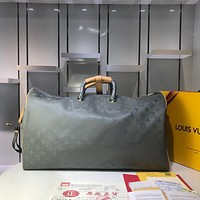 LV Louis Vuitton Men's Monogram Titanium Canvas Keepall 50 Travel Bag