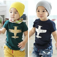 Children Clothes 2014 kids clothes pure cotton plane picture short sleeve boys girls T shirt 2-7Year children tee shirts baby T shirt.