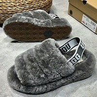 """UGG""High Quality Popular Women Warm Fluff Yeah Slippers Shoes Grey I/A"