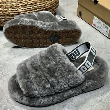 """""""UGG""""High Quality Popular Women Warm Fluff Yeah Slippers Shoes Grey I/A"""