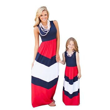 Mommy and me matching sleeveless dress