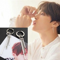 QUMORAIN KPOP BTS Bangtan Boys Album V DNA Stud Earrings Korean Fashion Jewelry Accessories For Mens And Womens Earring