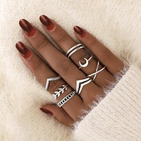 Tocona Geometric Moon Silver Color Rings for Women Minimal Simple Minimalist Jewelry Punk Fashion Boho Joint Finger Rings 9893