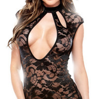 Black Sleeveless Cutout Flower Lace Chemise