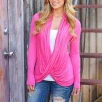 Cross Over Sweater - Barbie Pink