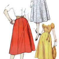 1950s Gored Panel Circle Skirt Simplicity Sewing Pattern 2469 Waist 30 Hip 40 Retro Rockabilly Vintage Style