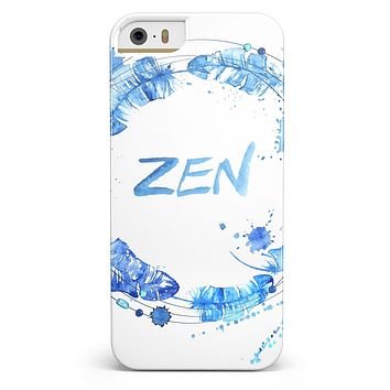 Abstract Watercolor Blue Feather Circle iPhone 5/5s or SE INK-Fuzed Case