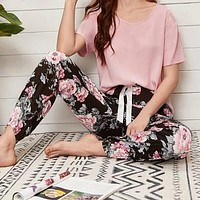 Solid Tee & Floral Pants PJ Set Two-Piece