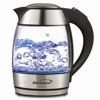 Brentwood 1.8L Tempered Glass Tea Kettle-Black