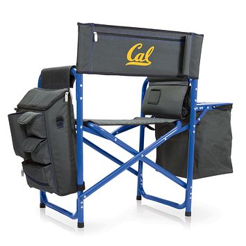 Cal Bears - Fusion Backpack Chair with Cooler, (Dark Gray with Blue Accents)