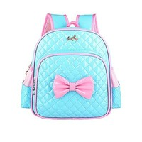 CrazyPomelo Princess Bowknot Shiny PU Backpack for Primary School Girls
