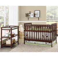 Baby Relax Ryder 2-in-1 Fixed-Side Crib with Changing Table, Espresso - Walmart.com