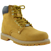 Mens Boots Oil Resistant Leather Work Hiking Padded Shoes Tan