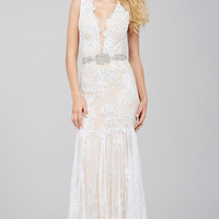 Jovani 28456 In Stock Ivory/Nude Size 6 BOHO Lace Evening Gown Wedding Dress