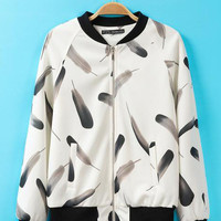 Feather Print Long Cuff Sleeve Jacket