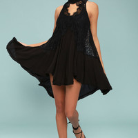 Free People Tell Tale Heart Black Lace Tunic