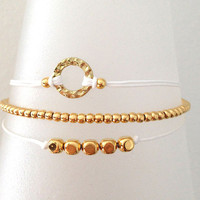 Triple Gold and White Friendship Bracelet with Adjustable Cord