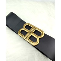 Balenciaga 2019 new women's classic double B letter buckle belt Black