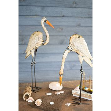 Set Of 2 Recycled Metal Egrets