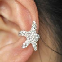 Sparkly Starfish Full Rhinestone Ear Cuff (Silver, Single, No Piercing) - LilyFair Jewelry
