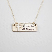 """""""I can do all things"""" Gold Filled Necklace - Philippians 4:13"""