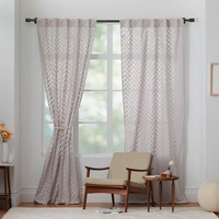 Sheer Chevron Curtain - Frost Gray