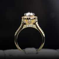 2016 new fasion jewelry real 925 sterling silver ring gold plated engagement wedding rings AAAAA Cubic zircon for women