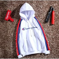 Champion Autumn And Winter Fashion New Bust Letter Print And Sleeve String Mark Print Contrast Color Splice Couple Hooded Long Sleeve Top Sweater White