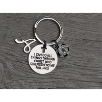 Personalized Soccer Faith I Can Do All Things Through Christ Who Strengthens Me Keychain