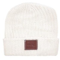 White Speckled Leather Patched Cuffed Beanie - Love Your Melon
