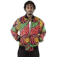 African Bomber Jacket - Blue/Red Swirl Print