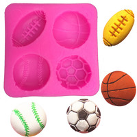 Free shipping football basketball tennis cooking tools silicone mold fondant sugar process mold DIY cake decoration FT-149