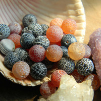 10mm Fire Dragon Vein Agate Beads Frosted Round 10 Pieces