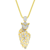 "Custom Iced Out Designer Owl Pendant 18k gold Finish with Free 24"" Franco Necklace"