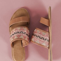 Bamboo Embroidery Double Band Slide Sandal